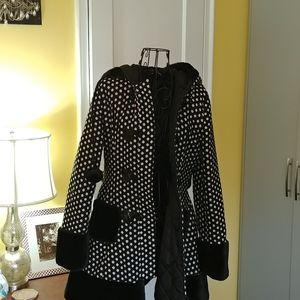 Black and White Polka Dot Coat Small